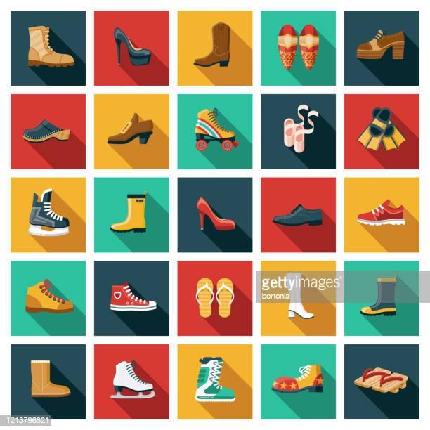footwear icon set - shoe stock illustrations