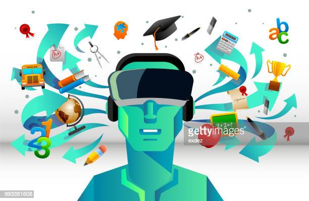 illustrazioni stock, clip art, cartoni animati e icone di tendenza di vr per l'istruzione - simulatore di realtà virtuale