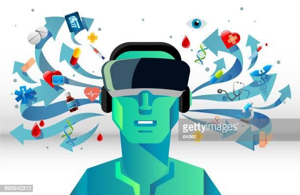 ilustrações, clipart, desenhos animados e ícones de vr para médicos - realidade virtual
