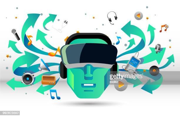 音楽用の vr - エクスペリエンスミュージックプロジェクト点のイラスト素材/クリップアート素材/マンガ素材/アイコン素材