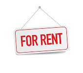 For Rent sign hanging isolated on white wall