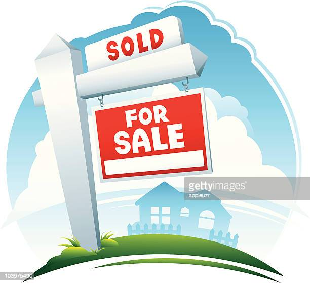 For Sale Sold Sign: For Sale Sign Premium Stock Illustrations