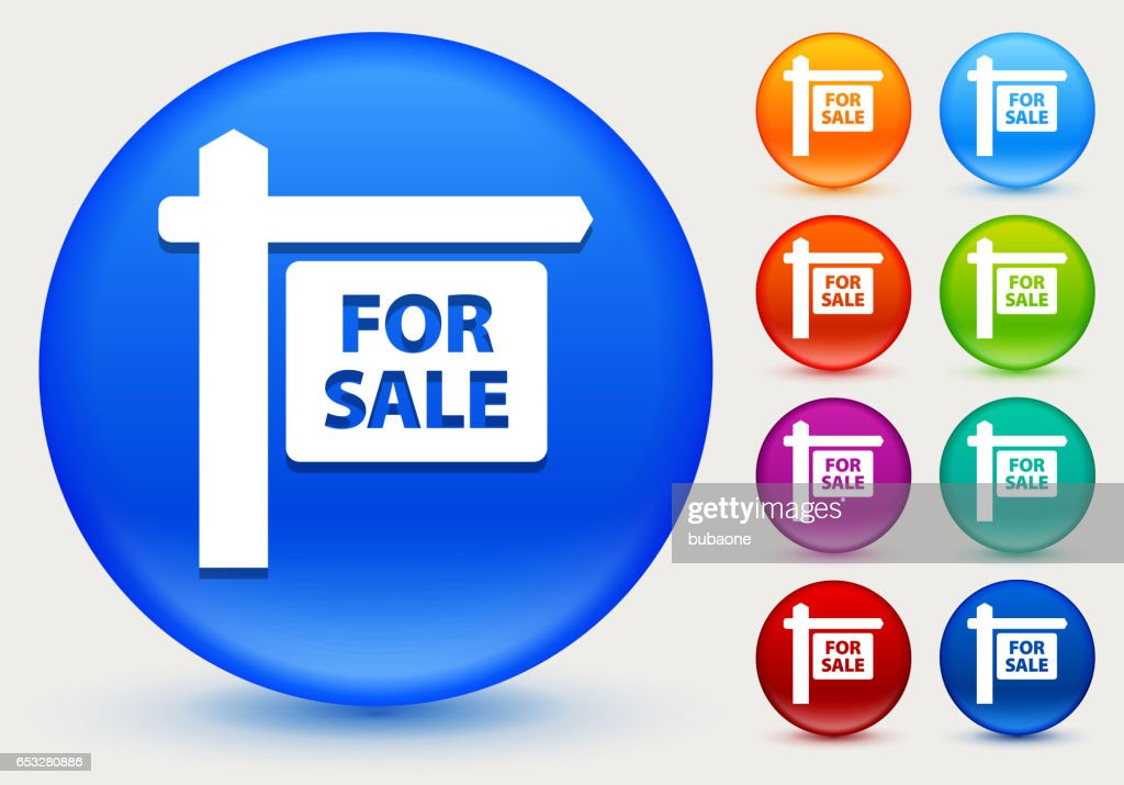 For Sale Sign Icon on Shiny Color Circle Buttons : Vector Art