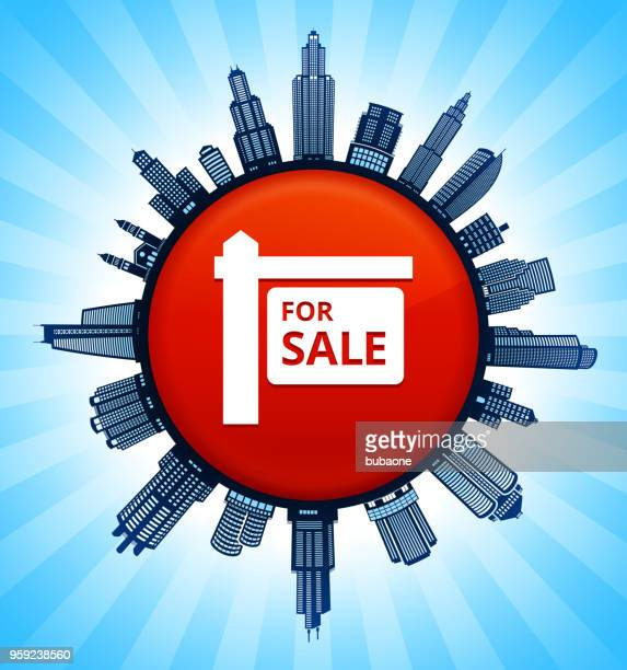 for sale sign on modern cityscape skyline background - commercial real estate sign stock illustrations