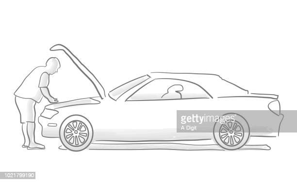 car troubles - vehicle hood stock illustrations, clip art, cartoons, & icons
