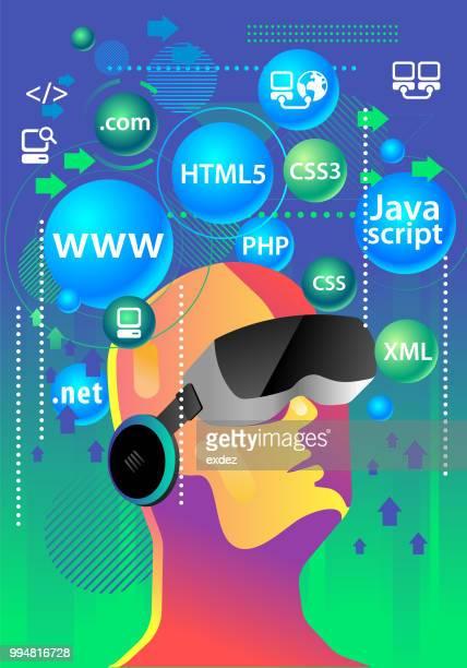 vr for web coder - html stock illustrations, clip art, cartoons, & icons
