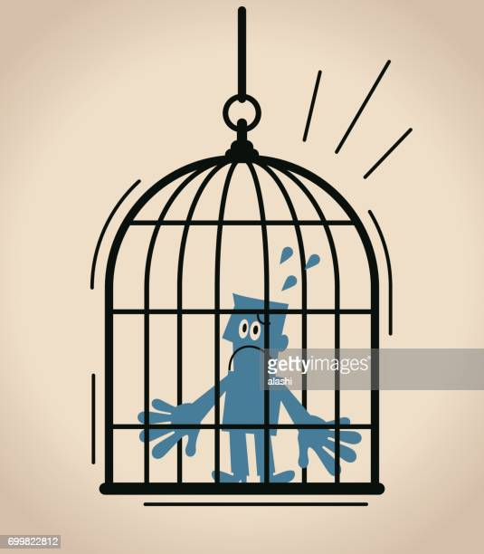 forbidden and freedom, displeased businessman standing inside of large birdcage - birdcage stock illustrations, clip art, cartoons, & icons