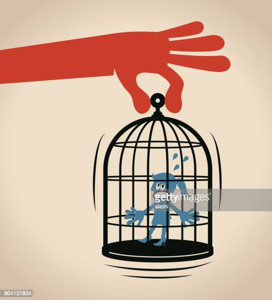 forbidden and freedom, displeased businesswoman standing inside of large birdcage. big hand carrying the cage - birdcage stock illustrations, clip art, cartoons, & icons