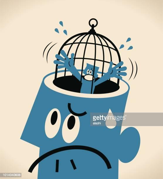 ilustraciones, imágenes clip art, dibujos animados e iconos de stock de prohibido y la libertad, descontentó a pequeño empresario dentro de una jaula grande (cage) en la cabeza abierta de un hombre gigante - autismo