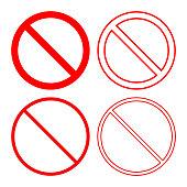 NO SIGN. Forbidden or prohibition symbol. Icon set. Vector