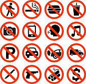 Forbidden Sign not allowed no smoking and eating