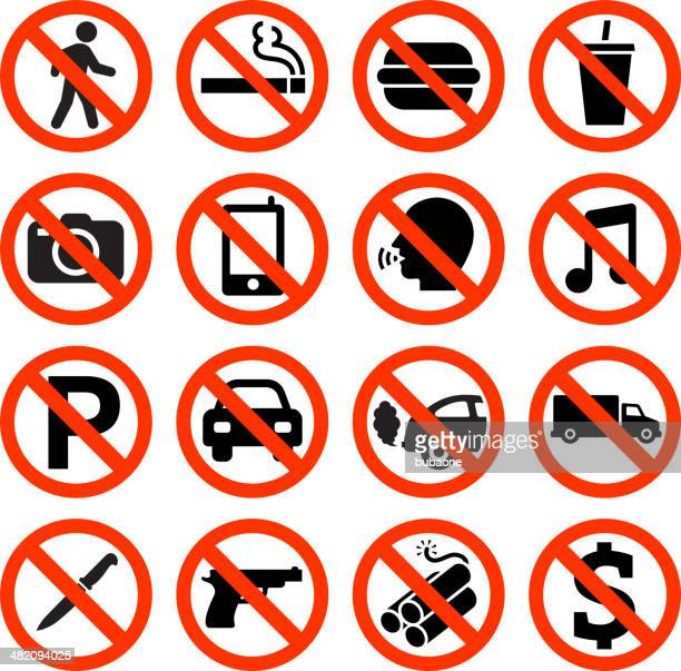 forbidden sign not allowed no smoking and eating - danger stock illustrations