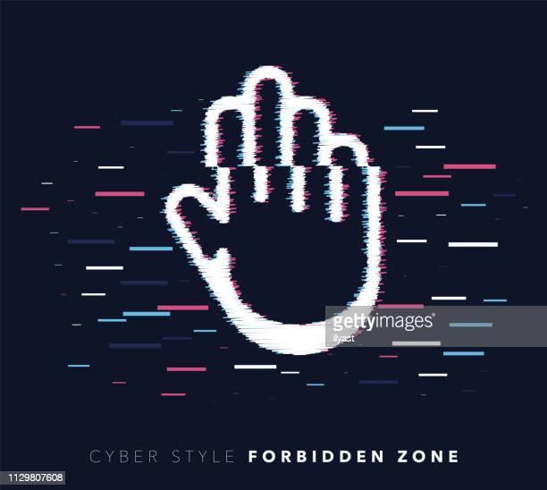 Forbidden Zone Glitch Effect Vector Icon Illustration