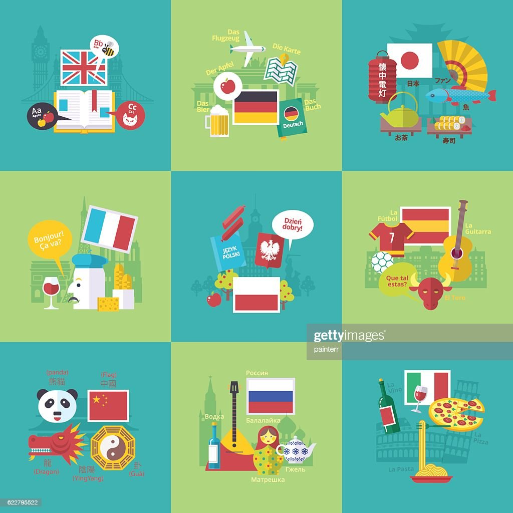 Foreign languages learning icons. Vector flat cartoon illustrations set.
