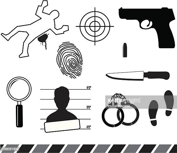 forensic symbols - handgun stock illustrations