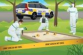 Forensic Working on a Crime Scene