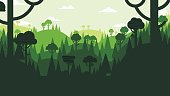 Forest and mountains flat design