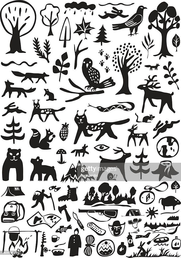 Forest  animals , camping - doodles set