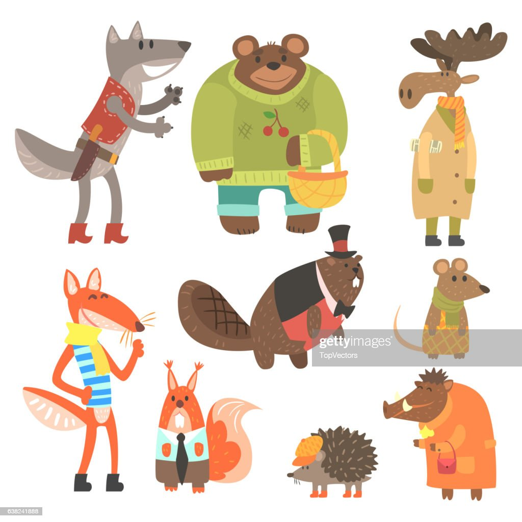 Forest Animals Dressed In Human Clothes Set Of Illustrations
