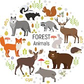 Forest animals in circle isolated vector set. Bear, raccoon, deer