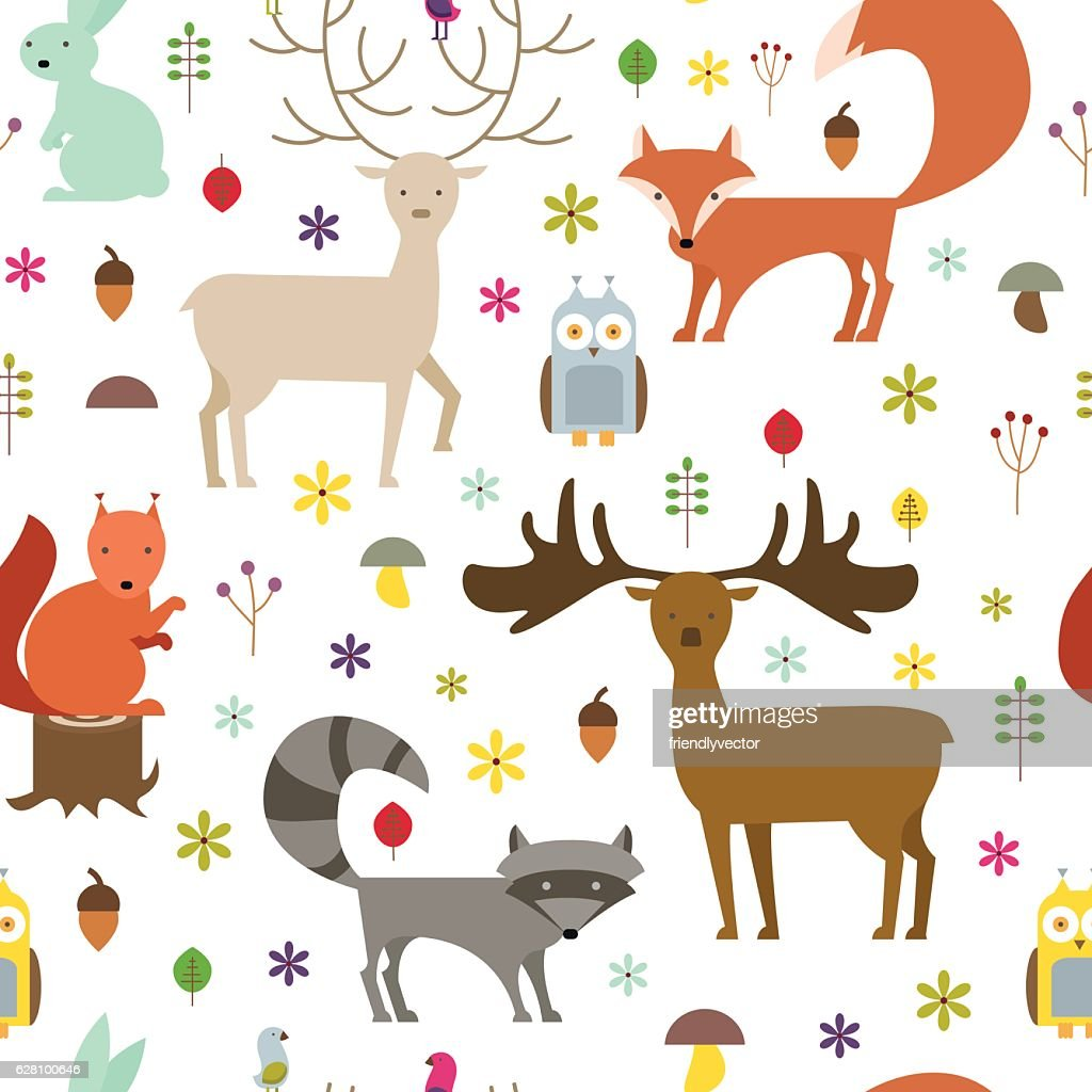 Forest animals seamless background. Flat style animals texture. Vector illustration.