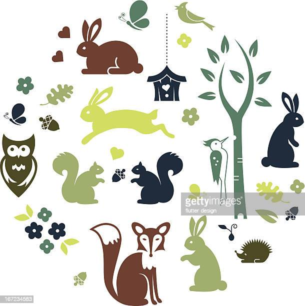 forest animals - rabbit animal stock illustrations, clip art, cartoons, & icons