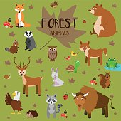 Forest animals Vector Illustration Set