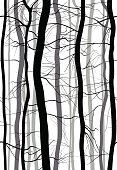 Forest Branches seamless pattern. Monochrome spring, winter bare trees