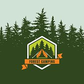 Forest camping emblem or label on background with fir forest.