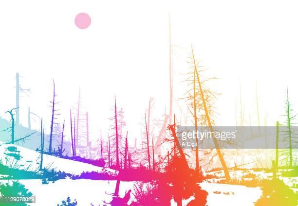 ilustraciones, imágenes clip art, dibujos animados e iconos de stock de arco iris de invierno de fuego forestal - incendio forestal