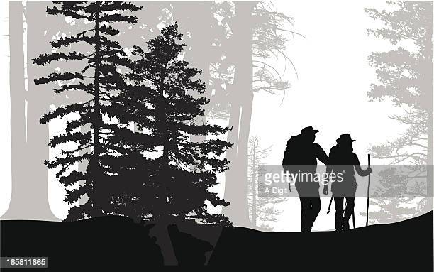 Forest Hike Vector Silhouette