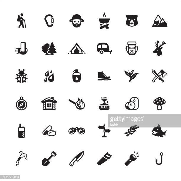 forest hiking icon set - head above water stock illustrations