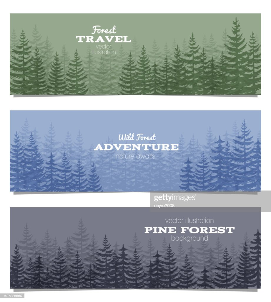 forest horizon banners pine trees backgrounds vector illustration