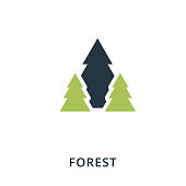 Forest icon. Flat style icon design. UI. Illustration of forest icon. Pictogram isolated on white. Ready to use in web design, apps, software, print.