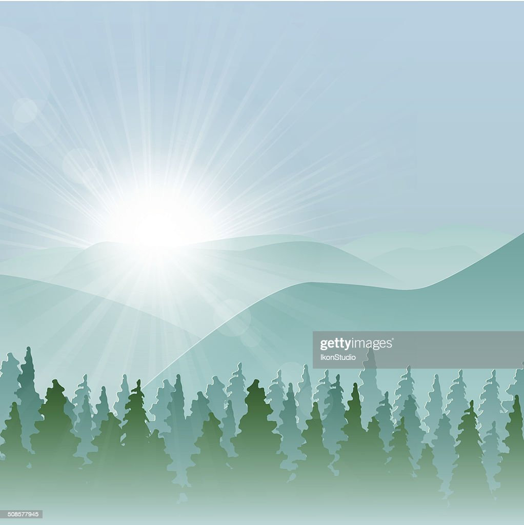 Forest Mountain Background : Vector Art