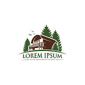 Forest mountain cabin logo with pine trees - isolated vector illustration