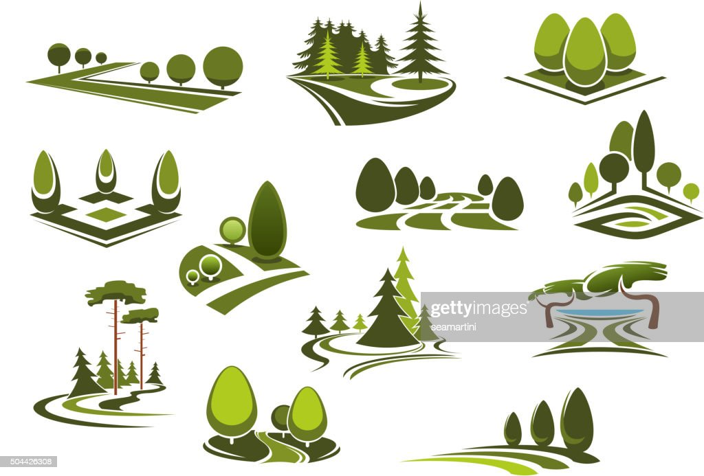 Forest, public park and garden landscapes icons