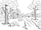 Forest road graphic art black white landscape sketch illustration vector