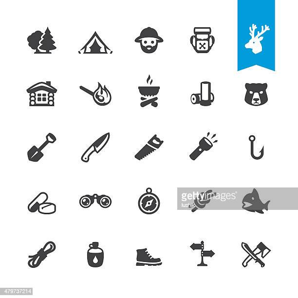 forest survival related icons - flashlight stock illustrations, clip art, cartoons, & icons