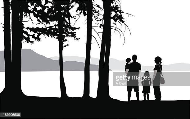 forest walk vector silhouette - looking at view stock illustrations, clip art, cartoons, & icons