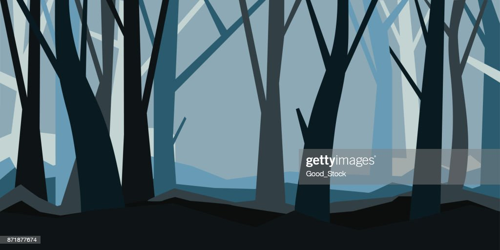 Forest without leaves in the dusk. Misty landscape. Horizontal vector illustration of a night forest in fog.