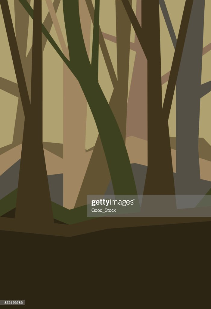 Forest without leaves in the dusk. Misty landscape. Vertical vector illustration of a night forest in fog.