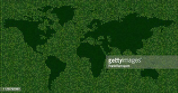 Wald Welt Karte Binärzahlen Vektormuster