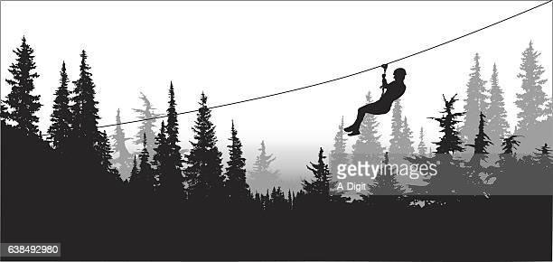 forest zip line adventure - steel cable stock illustrations
