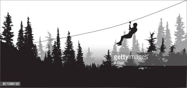 forest zipline adventures - carnival ride stock illustrations, clip art, cartoons, & icons