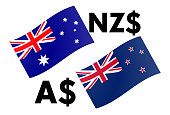 AUDNZD forex currency pair vector illustration. Australian and New Zealand flag, with Dollar symbol.