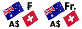 AUDCHF forex currency pair vector illustration. Australian and Swiss flag, with Dollar and Franc symbol.