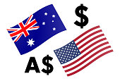 AUDUSD forex currency pair vector illustration. Australian and United States flag, with Dollar symbol.
