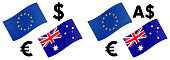 EURAUD forex currency pair vector illustration. EU and Australian flag, with Euro and Dollar symbol.