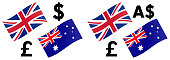 GBPAUD forex currency pair vector illustration. UK and Australia flag, with Pound and Australian dollar symbol.